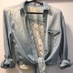 UO pins & needles lace back chambray front tie top